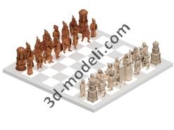 001 - Шахматы Татаро-монголы русские - 3d модели для ЧПУ - stl, art, rlf
