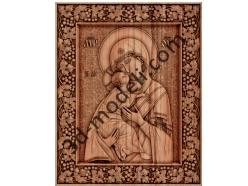 002 - Икона Владимирская божья матерь - 3d модели для ЧПУ - stl, art, rlf
