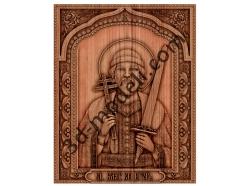 022 - Икона Святой Игорь - 3d модели для ЧПУ - stl, art, rlf