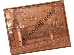 029 - Резное панно Кремлевская стена - 3d модели для ЧПУ - stl, art, rlf
