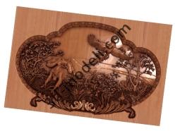 038 - Резное панно Охотники на привале - 3d модели для ЧПУ - stl, art, rlf