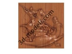 043 - Резное панно Георгий победоносец - 3d модели для ЧПУ - stl, art, rlf