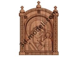 054 - Икона Казанская Божья Матерь - 3d модели для ЧПУ - stl, art, rlf