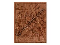 069 - Резное панно Иисус принимает Свой Крест - 3d модели для ЧПУ - stl, art, rlf