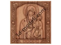 070 Икона икона Тихвинской Божией Матери - 3d модели для ЧПУ - stl, art, rlf