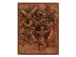 071 - Резное панно Иисус встречает Свою скорбящую Мать Марию - 3d модели для ЧПУ - stl, art, rlf