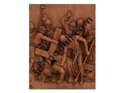 074 - Резное панно Иисус во второй раз падает под тяжестью Крест - 3d модели для ЧПУ - stl, art, rlf