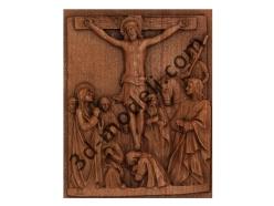 079 - Резное панно Иисус умирает на Кресте - 3d модели для ЧПУ - stl, art, rlf