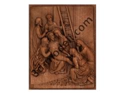 080 - Резное панно Тело Иисуса снимают с Креста - 3d модели для ЧПУ - stl, art, rlf