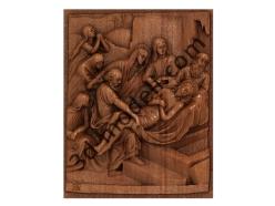 081 - Резное панно Тело Иисуса кладут в гроб - 3d модели для ЧПУ - stl, art, rlf