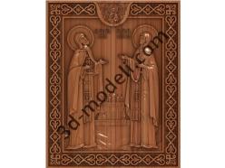 136 Икона Петр и Февронья - 3d модели для ЧПУ - stl, art, rlf