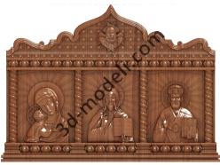 205 Икона Триптих - 3d модели для ЧПУ - stl, art, rlf